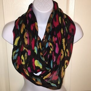 Sheer infinity scarf with rainbow colors